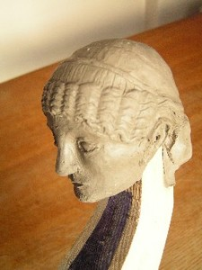 The clay maquette of the head. It's based on a Roman female portrait bust from Pompeii, now in the archaeological museum in Naples, where I was able to photograph it.