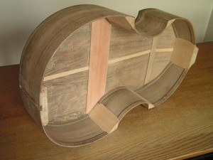 The body of the viol finished, ready for the soundboard to be glued on.