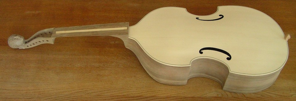 The finished viol before varnishing.